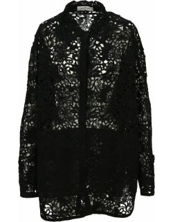 Valentino Floral Lace Long-sleeve Shirt