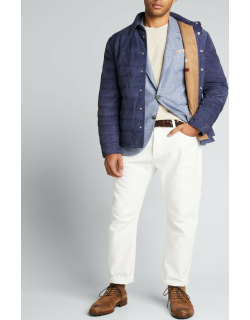Men's Down-Filled Shirt-Style Suede Jacket