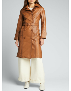Patina Lamb Leather Belted Coat