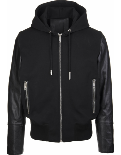 Givenchy Man Black Leather And Jersey Jacket With Hood