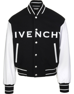Man Black And White Givenchy Bomber In Wool And Leather