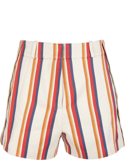 Paco Rabanne Woman Light Beige Shorts With Multicolored Stripe Pattern