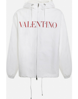 Valentino Cotton Blend Pea Coat With Contrasting Logo Print