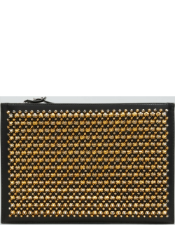 Men's Spiked Leather Zip Pouch