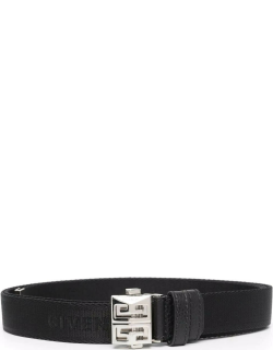 Man Black Givenchy Canvas Belt With Silver 4g Buckle