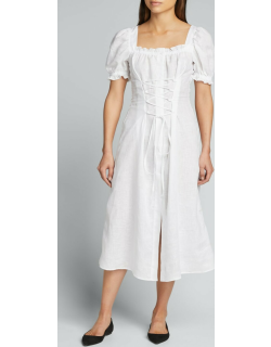 Marquise Linen Lace-Up Dress