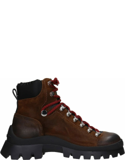 Dsquared2 Combat Boots In Brown Suede