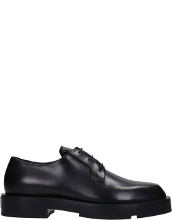 Givenchy Derby Squared Lace Up Shoes In Black Leather