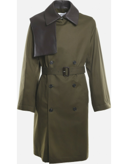 Loewe Double-breasted Cotton Trench Coat With Leather Insert