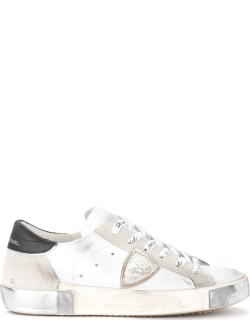 Philippe Model Paris X Sneaker In Leather And White Suede With Black Spoiler