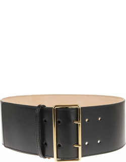 Alexander McQueen Woman Black Smooth Leather Belt With Maxi Golden Buckle
