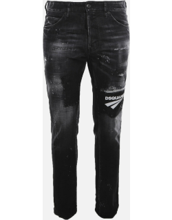 Dsquared2 Stretch Cotton Jeans With Contrasting Logo Patch