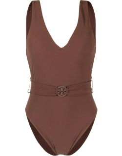 Tory Burch Brown Miller Plunge One-piece Swimsuit