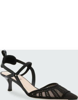 Embroidered Ankle-Strap Kitten Pumps