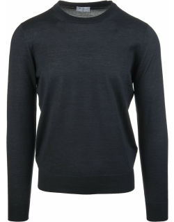 Fedeli Anthracite Man Pullover In Cashmere And Silk