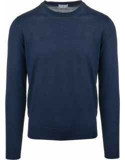 Fedeli Man Round Neck Pullover In Blue Cashmere And Silk