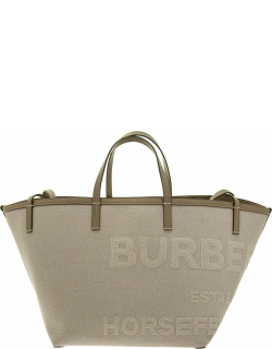 Burberry Mini Beach Tote In Cotton And Linen Canvas With Horseferry Lettering
