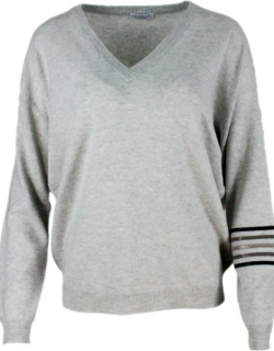 Brunello Cucinelli Cashmere V-neck Sweater With Rows Of Jewels On The Arm