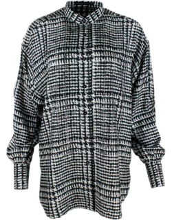 Ermanno Scervino Long Shirt With Soft Fit In Silk With Long Sleeves With Applications Of Crystals In The Front With Mandarin Collar