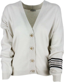 Brunello Cucinelli Cardigan Sweater With Cashmere Buttons With Rows Of Jewels On The Arm