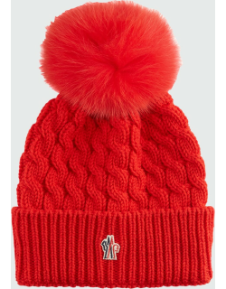 Wool Cable-Knit Fur Pom Beanie