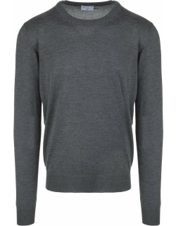 Fedeli Man Round Neck Pullover In Anthracite Cashmere And Silk