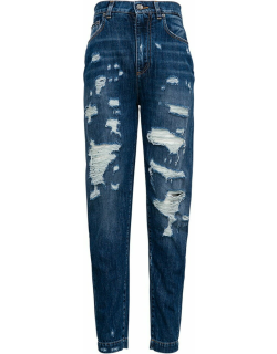 Dolce & Gabbana High Waist Jeans With Ripped Details