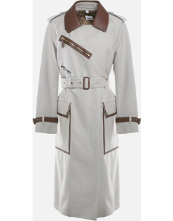 Burberry Cotton Canvas Trench Coat With Leather Inserts