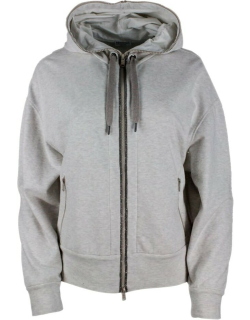 Brunello Cucinelli Cotton Sweatshirt With Zip Closure And Hood All Edged With Rows Of Monili