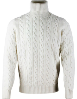 Brunello Cucinelli Turtleneck Sweater In Cashmere Blend With Cable Knit