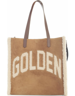 Golden Goose California Bag N-s golden Merino And Suede Body Leather Handles Inlaid