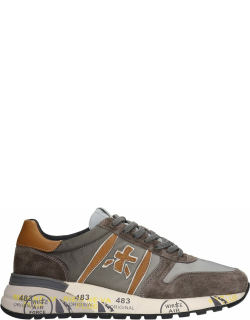 Premiata Lander Sneakers In Taupe Suede And Fabric