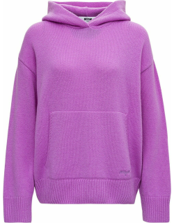 MSGM Purple Wool And Cashmere Hoodie