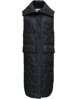 Tela Birillo Long Down Jacket In Black Nylon Quilted