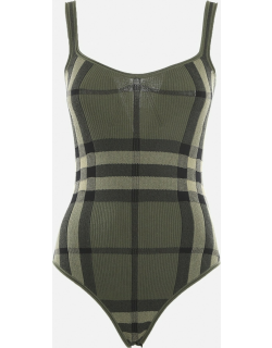 Burberry Cotton Blend Body With All-over Intarsia Tartan Motif