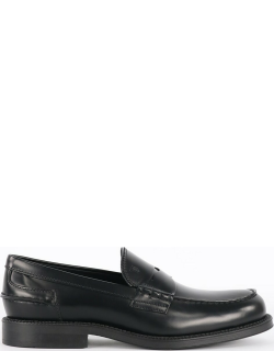 Tods Black Leather Moccasin