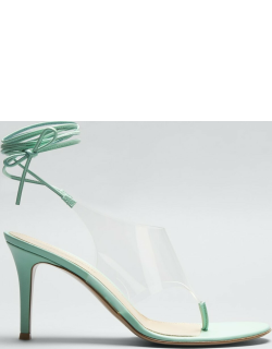 85mm Clear Ankle-Tie Thong Sandals