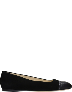 Jimmy Choo Watson Ballet Flats In Black Suede And Leather