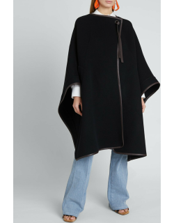 Wool-Cashmere Cape Coat w/ Leather Tie
