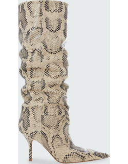 Mama Snake-Print Slouchy Knee Boots