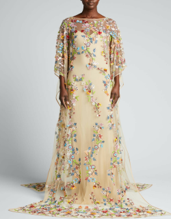 Multicolored Floral-Beaded Caftan Gown w/ Separate Slip
