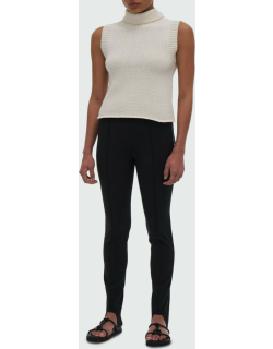 Turtleneck Tank Top with Ribbed Trim