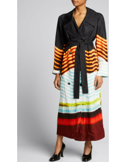 Double-Breasted Multi-Stripe Belted Coat