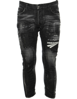 Dsquared2 Logo Patched Cropped Jeans