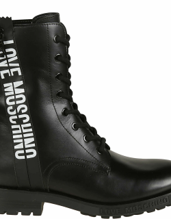 Love Moschino Logo Print Side Zip Lace-up Boots