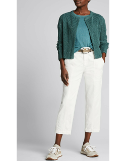 Sequined English-Ribbed Linen/Silk Cardigan