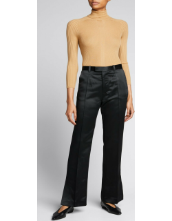Side-Slit Flare Satin Trousers