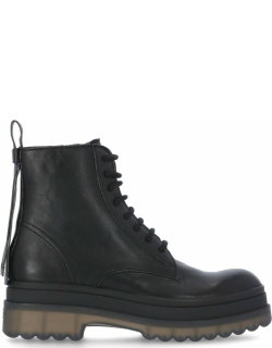 RED Valentino Leather Combat Boot