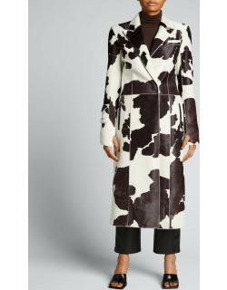 Leather Cow-Print Trench Coat