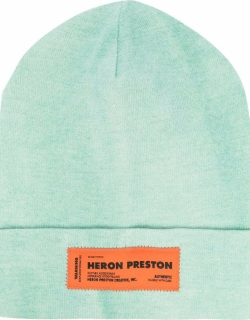 HERON PRESTON Beanie In Mint Green Woolen Knit With Logo Patch And Turn-up Brim
